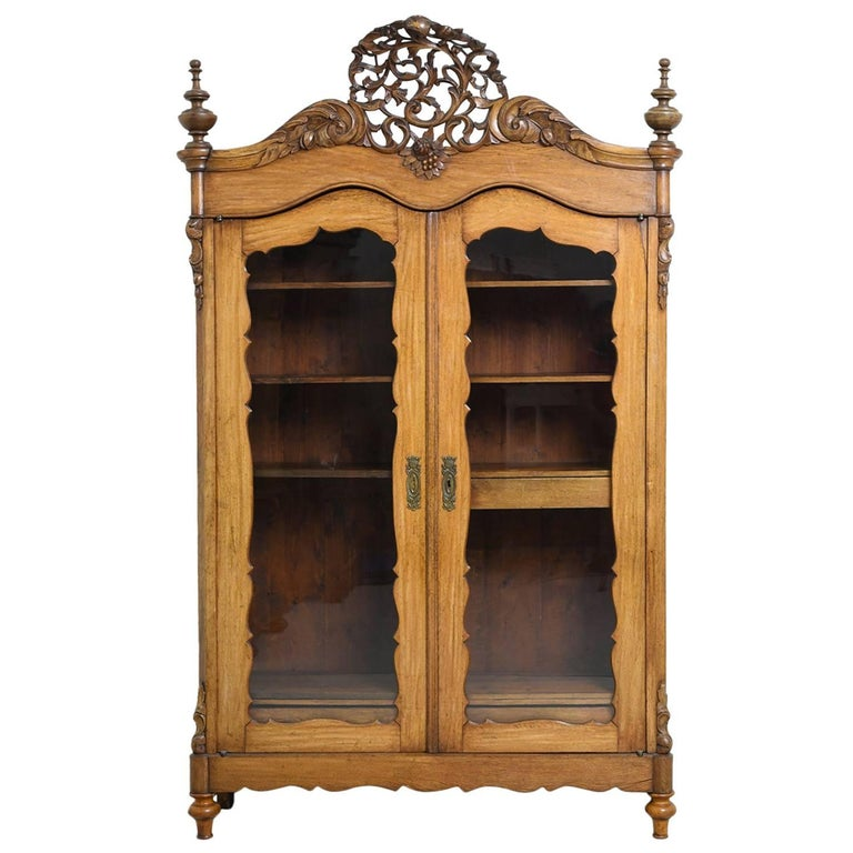 19th Century Dutch Wilhelm Ii Oak Armoirevitrine Or Bookcaselinen Cabinet