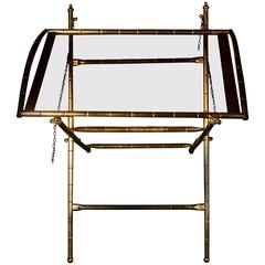 Gino Maggionni Italian Faux Bamboo Brass and Glass Side Table, 20th Century