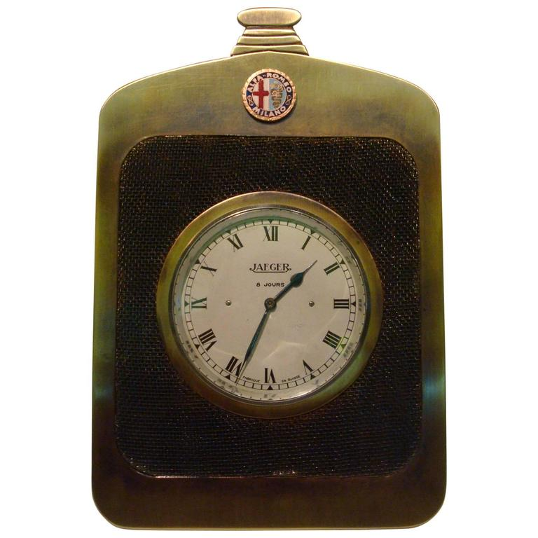 Alfa Romeo Classic Car Radiator Desk Clock, Jaeger, 1920s