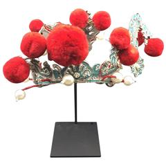 Chinese Theatre Turquoise and Red Pom Headdress, Early 20th Century