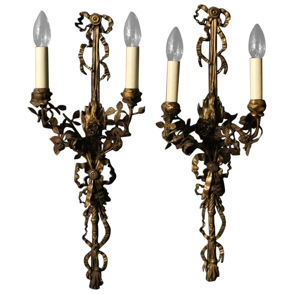 Vintage Bronze Wall Sconces : English Pair of Bronze Antique Wall Sconces at 1stdibs