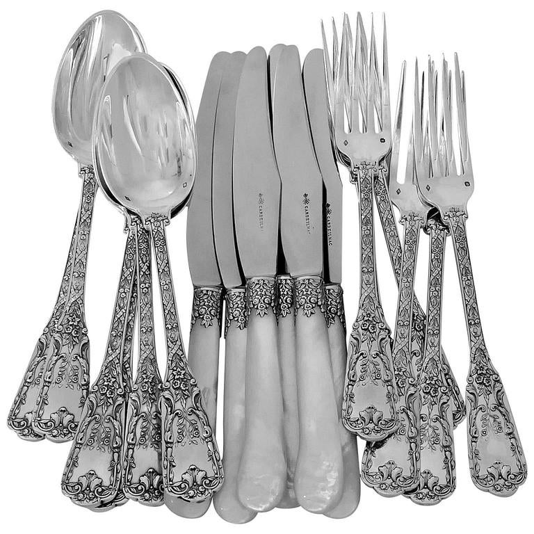 Cardeilhac French Sterling Silver Dinner Flatware Set 18 Pieces Neoclassical For Sale