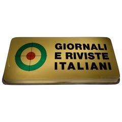 "Illuminated Sign ""Italian News Papers and Magazines,"" circa 1950, Italy"