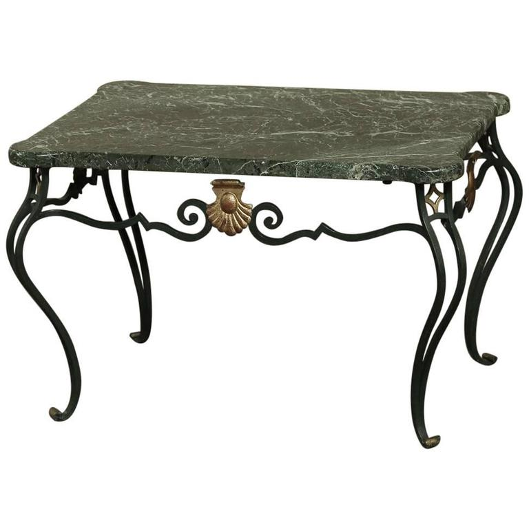 Antique italian hand crafted wrought iron marble top for Oval wrought iron coffee table with glass top