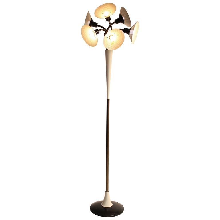 Six Pierced Shade on Brass Gooseneck Floor Lamp, 1950s, USA