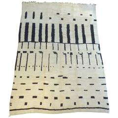 Large Contemporary Ivory and Black Moroccan Rug