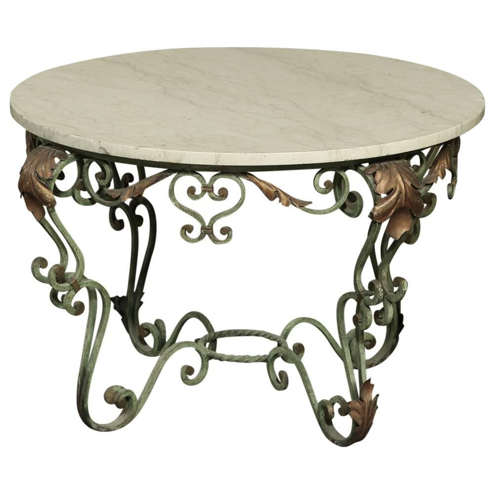 Antique wrought iron and marble coffee table for sale at for Wrought iron coffee table for sale