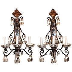Wonderful Vintage Pair of Beaded Jansen Gilt Iron Bagues Crystal Sconces