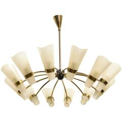 Large Kalmar Brass Twelve Lights Sunburst Chandelier