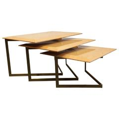 Birdseye Maple and Brass Nesting Tables