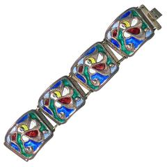 Oystein Balle Norway Sterling Vermeil and Enamel Abstract Bracelet