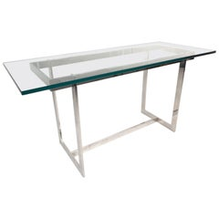 Mid-Century Modern Glass and Chrome Console Table in the Style of Milo Baughman
