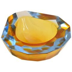 Murano Large Sommerso Faceted Glass, Italian, 1950 Shaped Ashtray by Flavio Poli