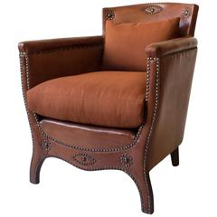 Otto Schulz Petite Original Leather, Brass and Silk Upholstered Swedish Armchair
