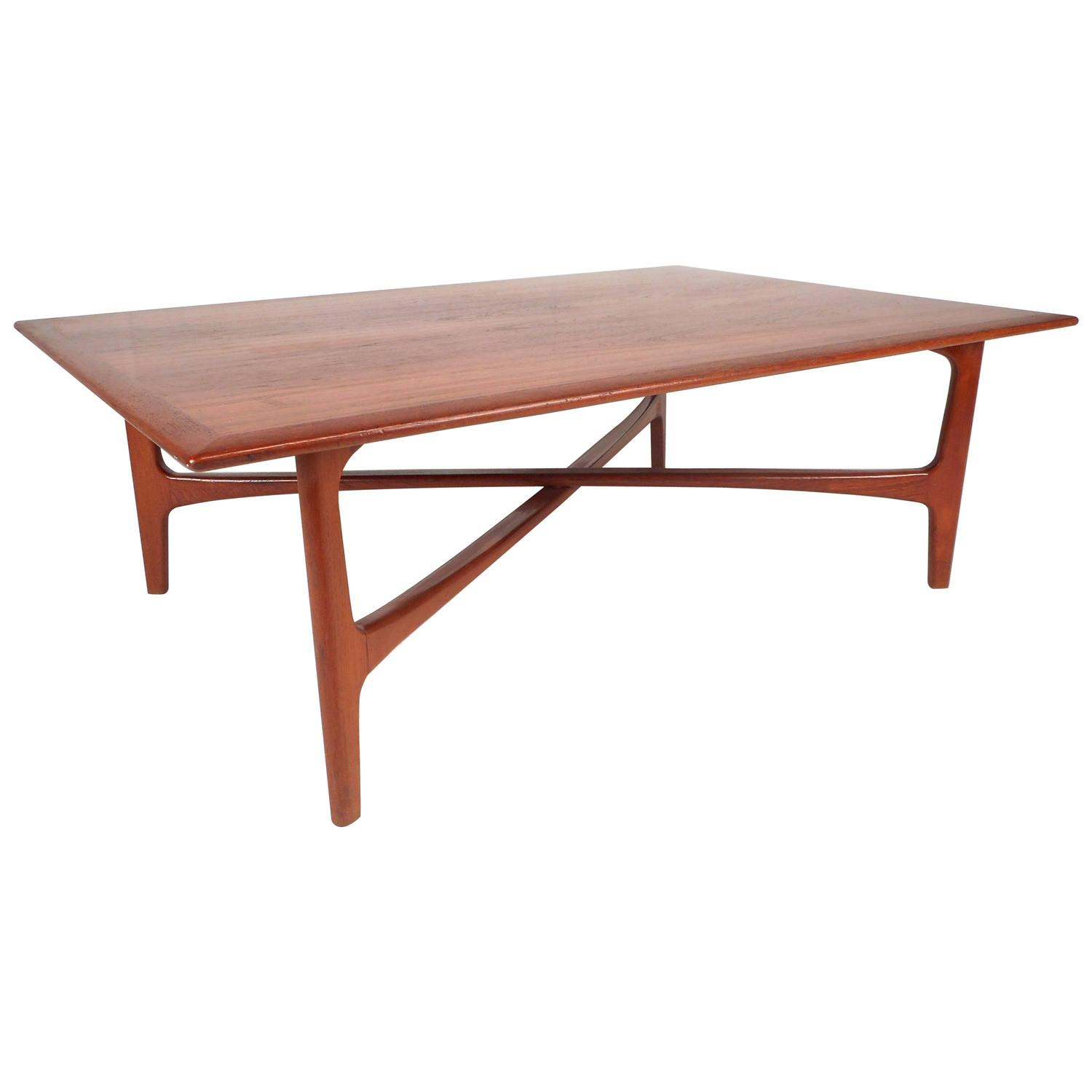 Danish modern staved large solid teak coffee table from denmark mid century modern oversized danish teak coffee table by dux furniture geotapseo Gallery