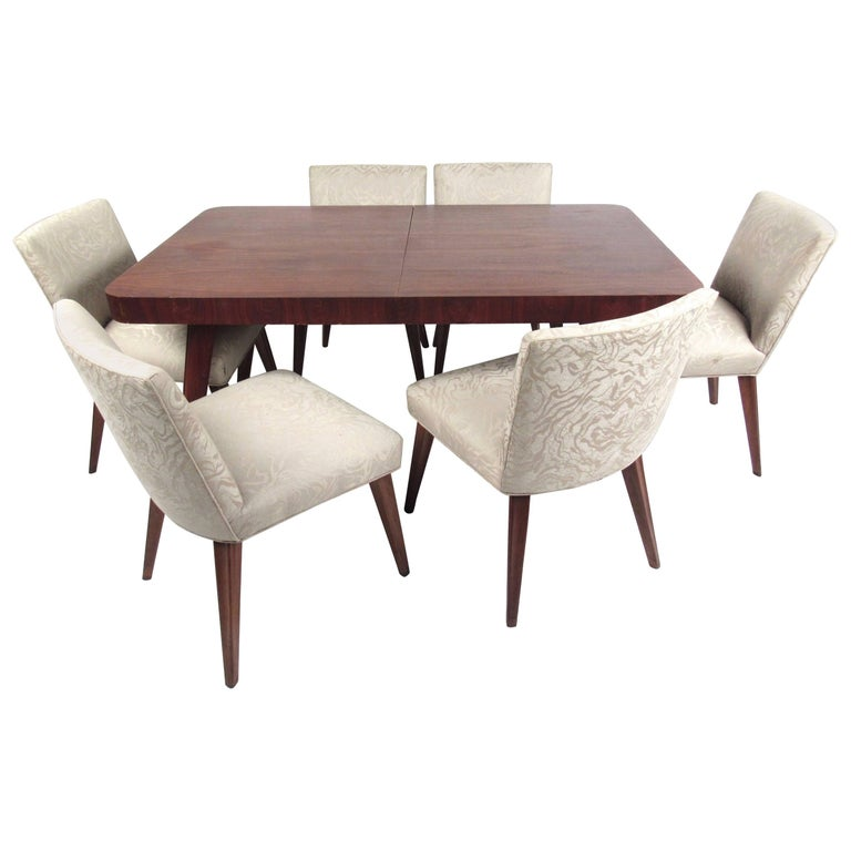Mid-Century Six Chair Dining Set For Sale