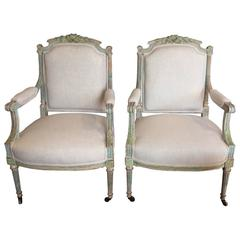 Lovely Pair of 1920s Carved Wood French Armchairs