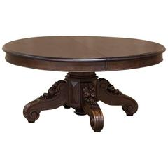 19th Century Renaissance Hand-Carved Solid Oak Coffee Table with Della Robia