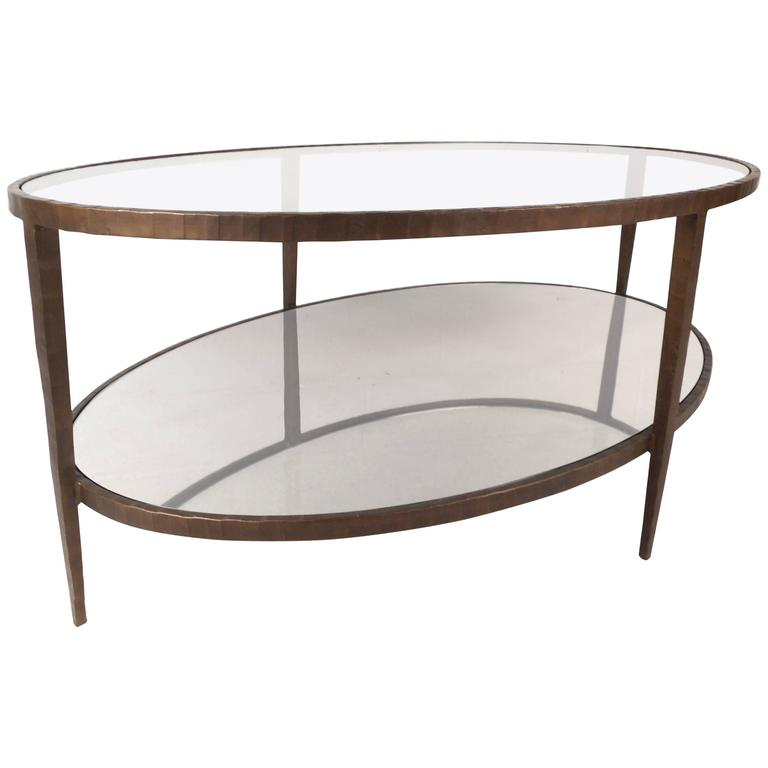Mid Century Modern Oval Two Tier Textured Metal Coffee Table 1