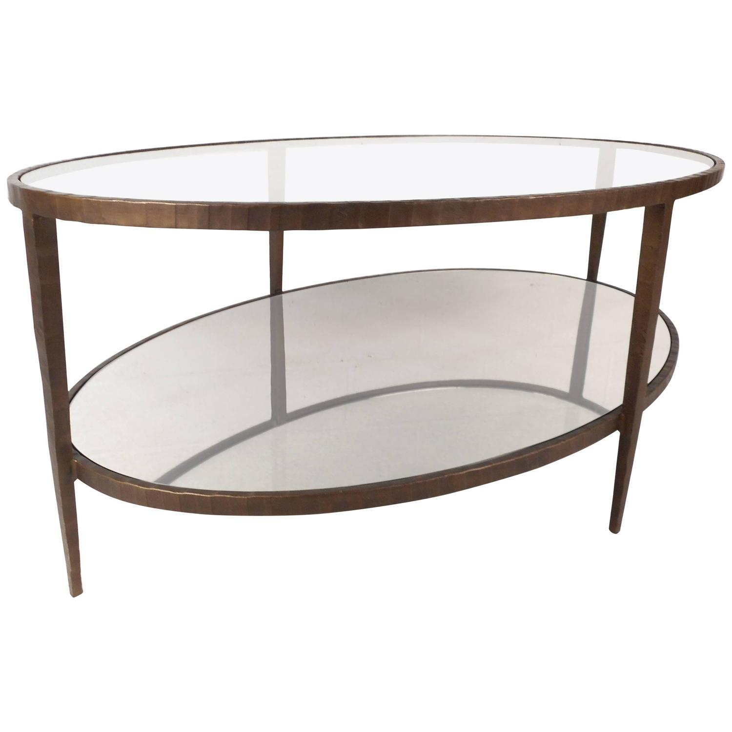 Oval Coffee Table With Metal Legs: Mid-Century Modern Oval Two-Tier Textured Metal Coffee
