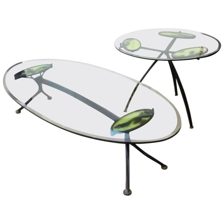 Set of Two Mid-Century American Iron and Glass Tables