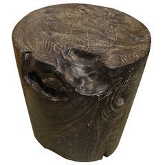 Single Burnt Teak Wood Side Table