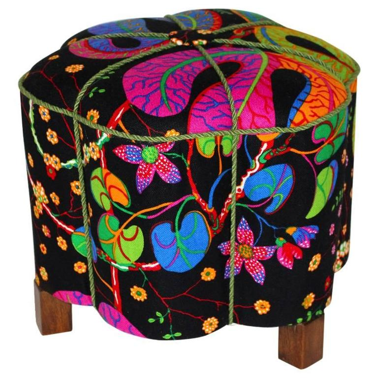 art deco pouf or tabouret austria 1930s covered with original josef frank fabric for sale at 1stdibs. Black Bedroom Furniture Sets. Home Design Ideas