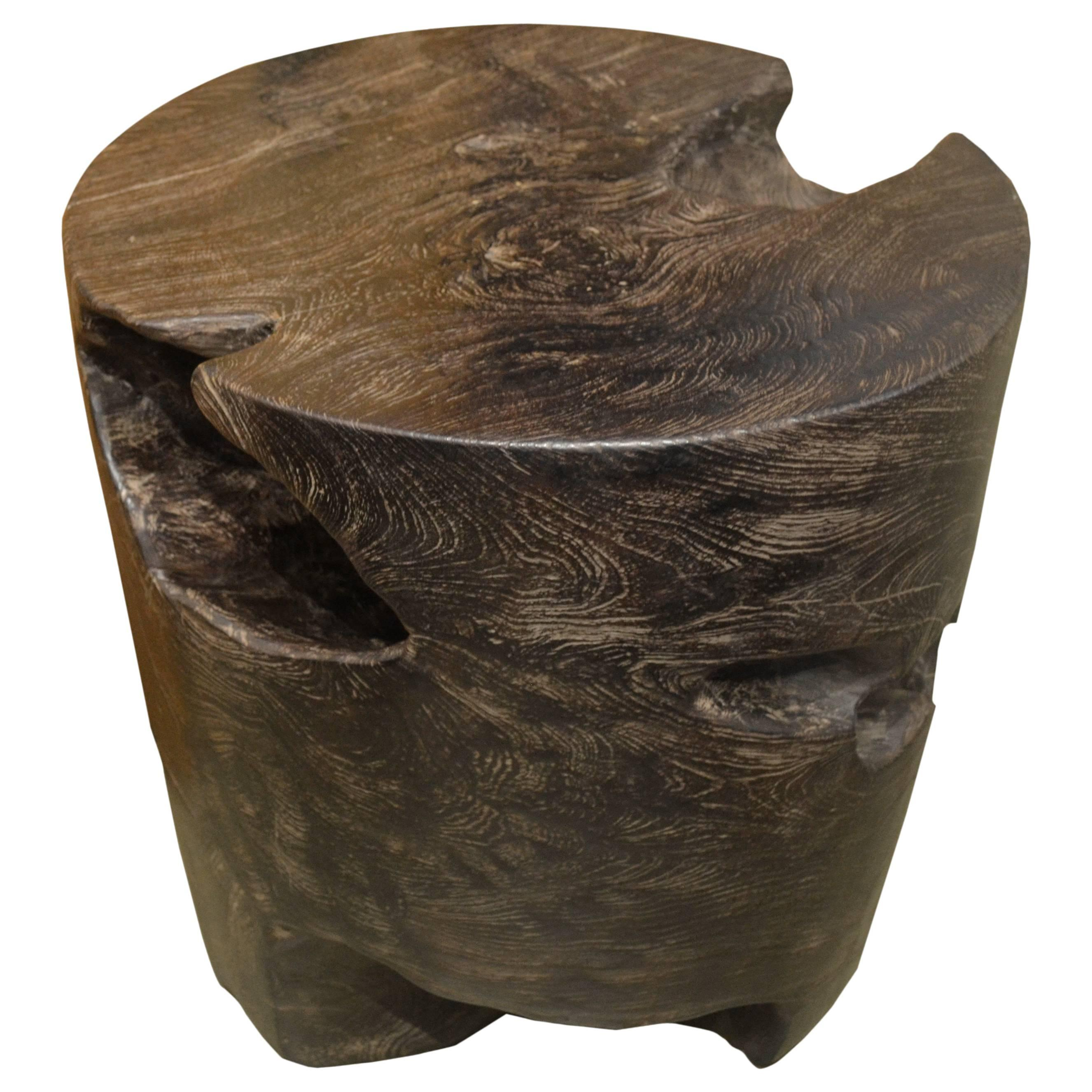 Andrianna Shamaris Single Burnt Teak Wood Side Table