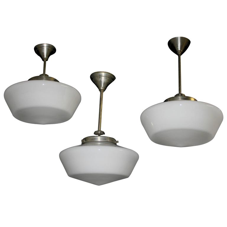 1930s Conical Opaline Pendant Lights At 1stdibs