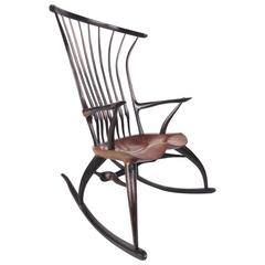 Rustic Modern Sculptural Windsor Rocking Chair by Joe Graham for Lenox Workshop