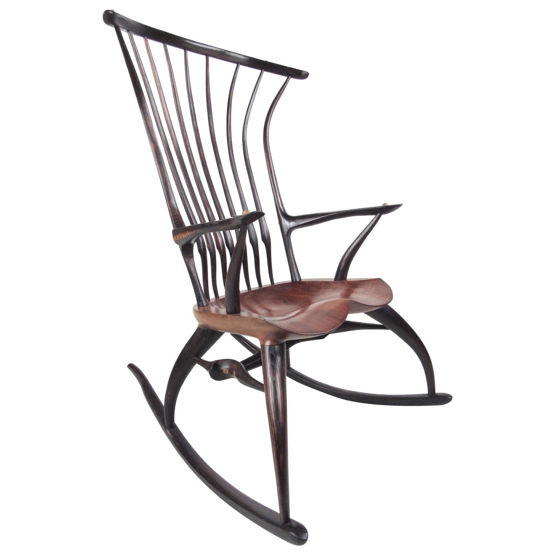 Rustic Modern Sculptural Windsor Rocking Chair By Joe Graham For Lenox Workshop