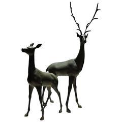 Pair of Hollywood Regency Large Bronzed Brass Deer Statues