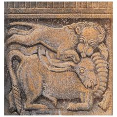 """""""Lion and Bull,"""" Art Deco-Medieval Decorative Painting in Greys and Burnt Sienna"""
