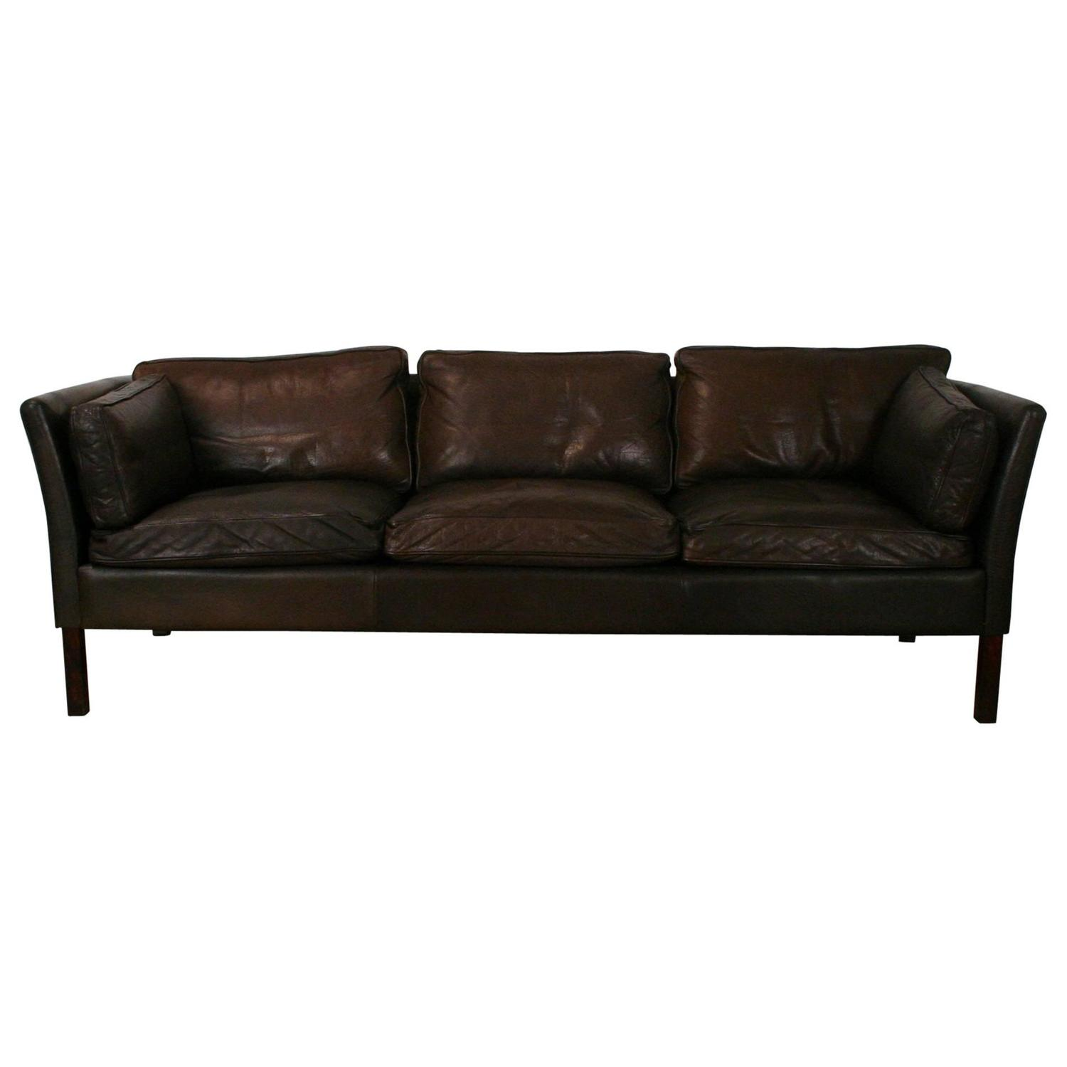 Vintage dark brown leather three seat sofa for sale at 1stdibs for Tan couches for sale