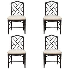 Set of Four Lacquered Faux Bamboo Chinese Chippendale Chairs