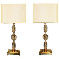 Pair of 1930s Bronze and Crystal Lamps from Prince De Galles Hotel
