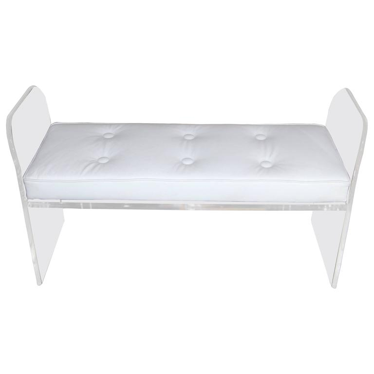 1970s Lucite Bench with White Leather Cushion