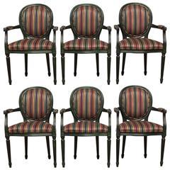 Set of Six Louis XVI Armchairs in Malachite Green Lacquer