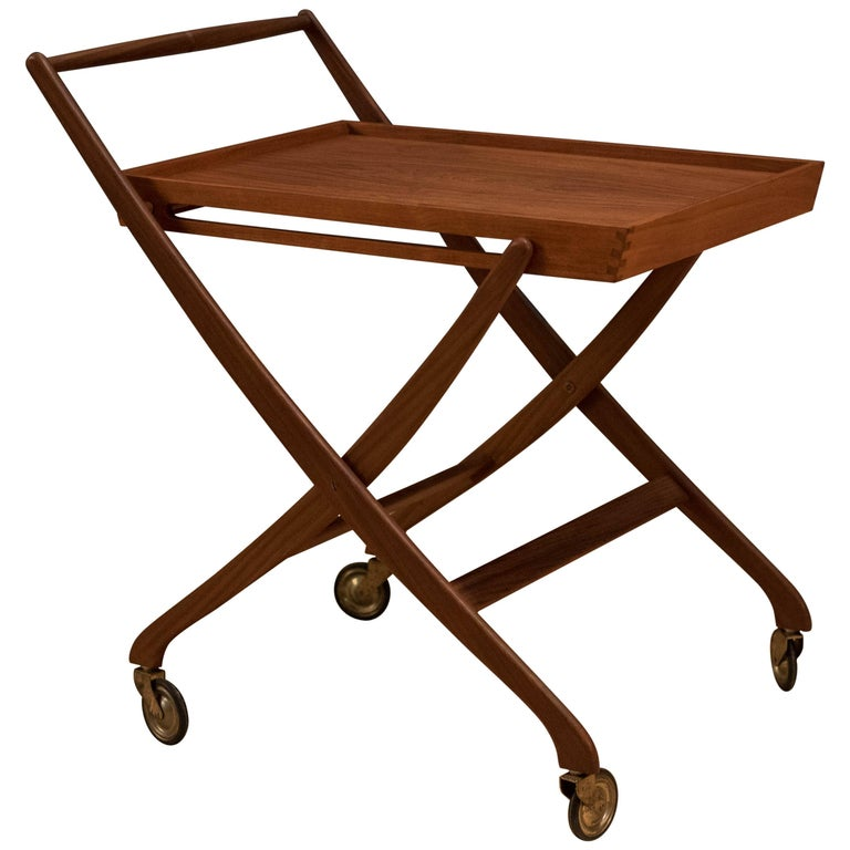 Vintage Danish Teak Folding Bar Cart For Sale