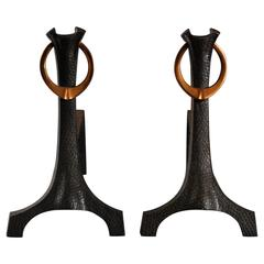 Pair of Andirons or Firedogs, Copper and Iron, English, circa 1905