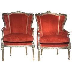 Pair of French Louis XV Neo-Rococo Armchairs Bergères Silver Plated Cinnamon