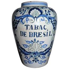 19th Century Delft Hand-Painted and Glazed Tobacco Jar