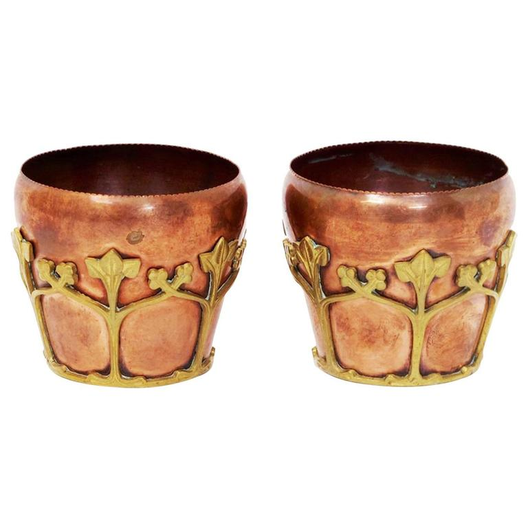 Petite Pair Of Stylish Copper And Gilt Plant Pots In The