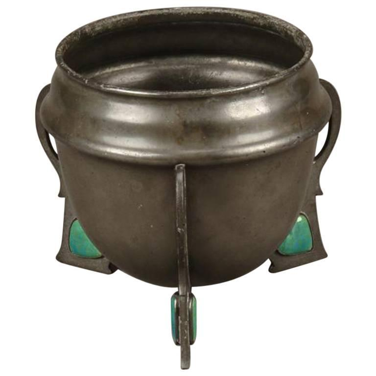 Pewter and 'Ruskin' Heart Shape Plaque Cache Pot by Hutton and Sons For Sale