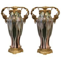 Pair of Paul Louchet Earthenware Art Nouveau Vases, Circa 1900