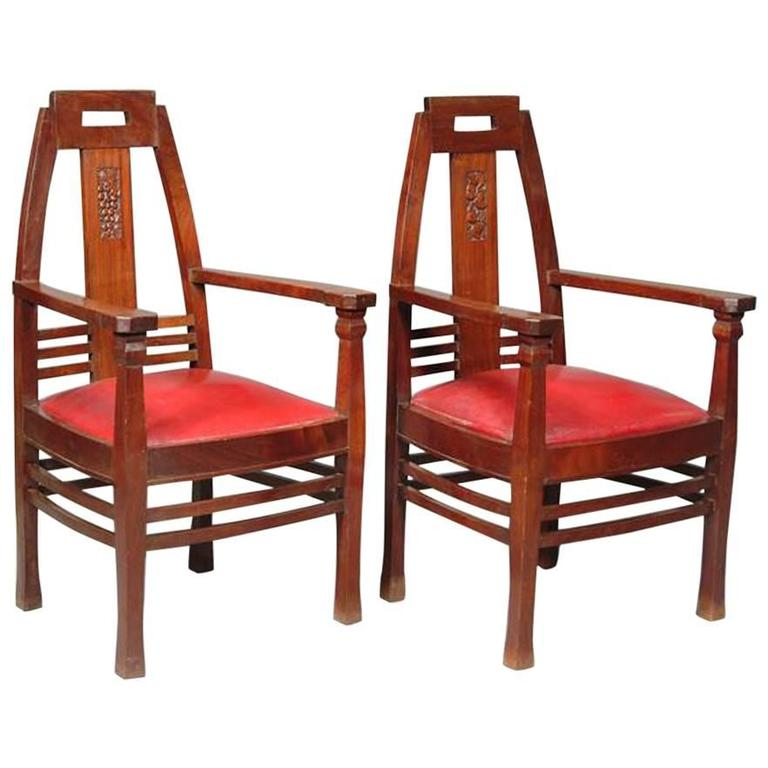 Pair of Arts & Crafts Jugendstil Mahogany Armchairs by P Berhens 1