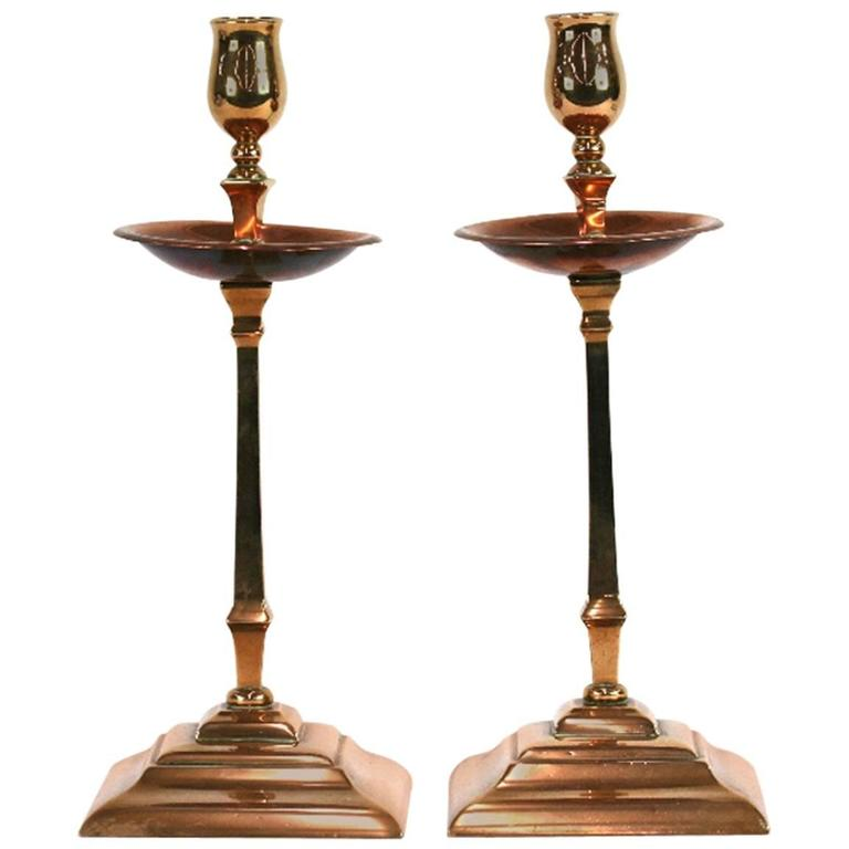 Pair of Copper and Brass Candlesticks, by W A S Benson