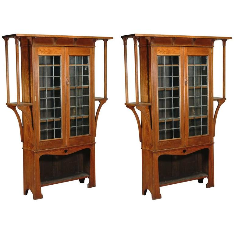 Near Pair of Oak Arts & Crafts Bookcases by Liberty and Co. For Sale