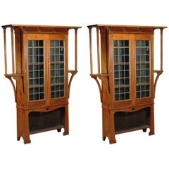 Near Pair of Oak Arts & Crafts Bookcases by Liberty and Co.