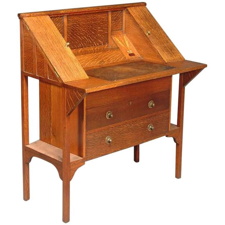 Arts and crafts oak writing desk by g m ellwood for sale for Crafting desks for sale